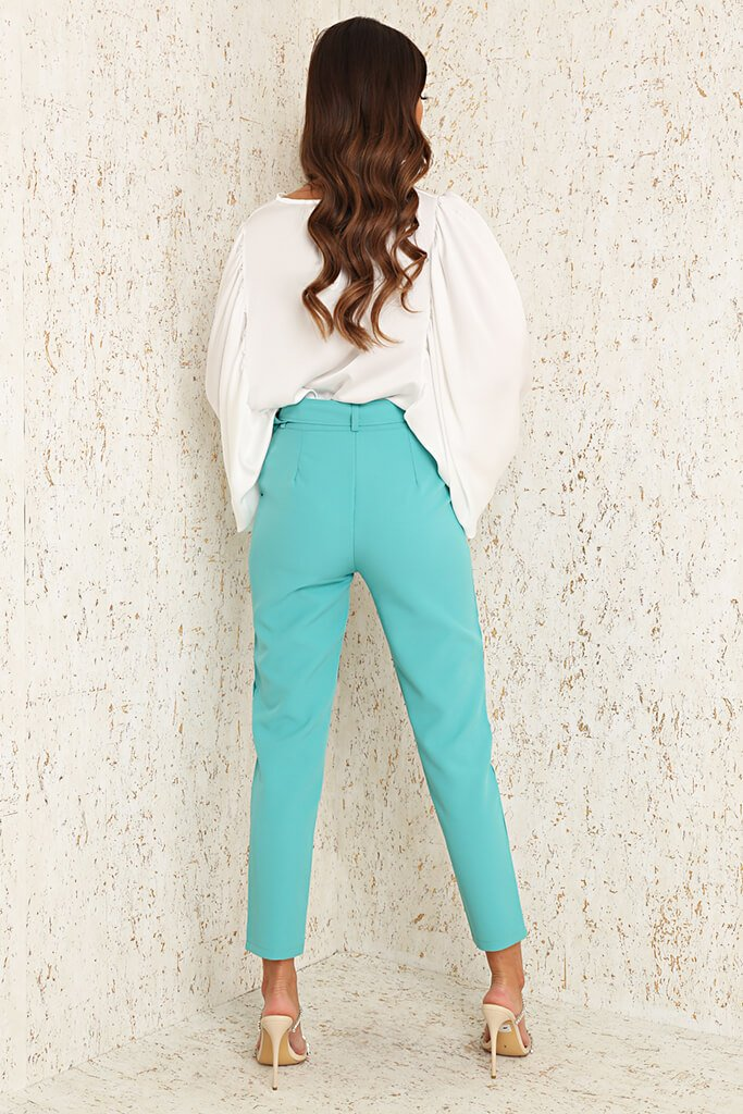 Mint Green Woven Belted Cigarette Trousers view 7