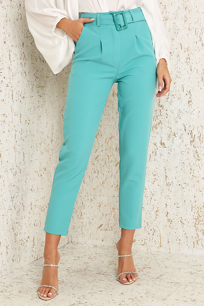 Mint Green Woven Belted Cigarette Trousers view 2