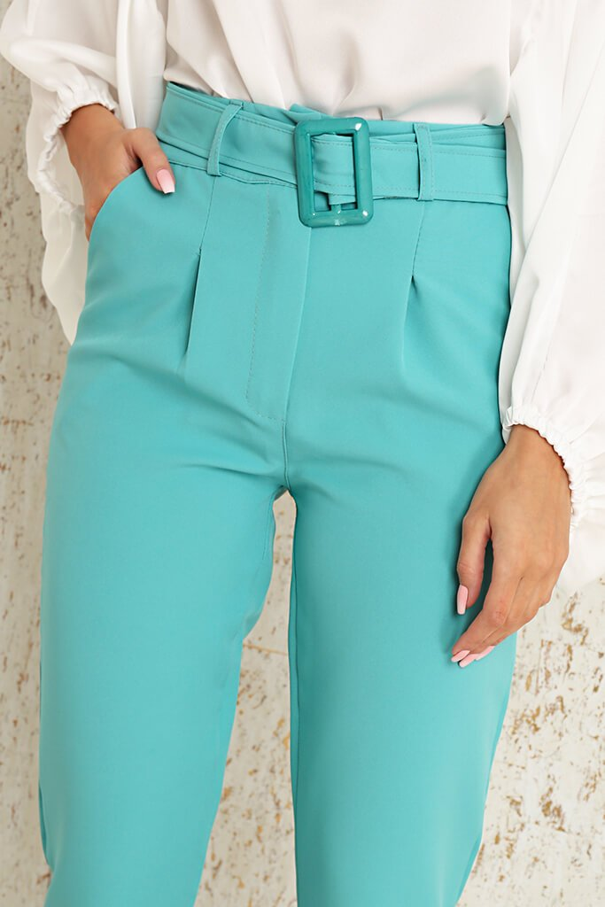 Mint Green Woven Belted Cigarette Trousers view 4