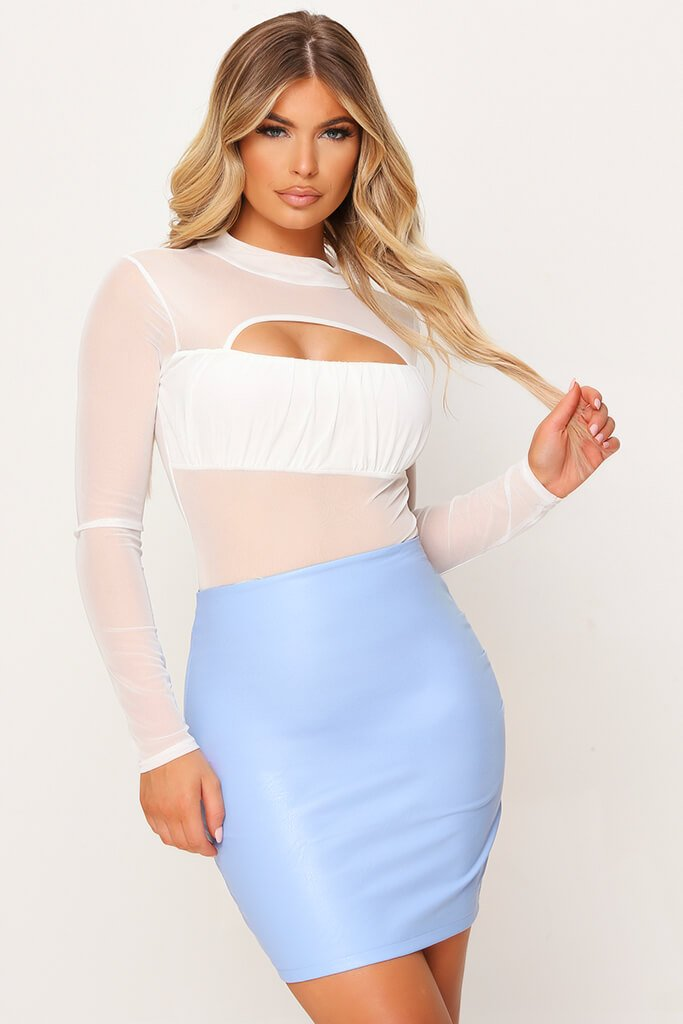 Pastel Blue Faux Leather Bodycon Mini Skirt