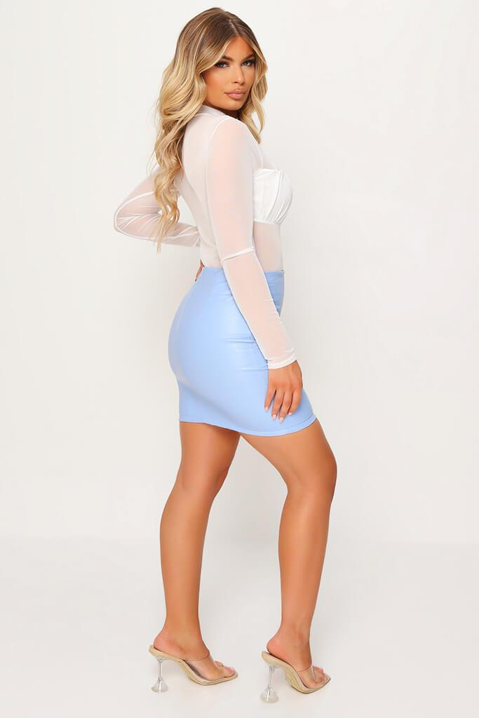 Pastel Blue Faux Leather Bodycon Mini Skirt view 3