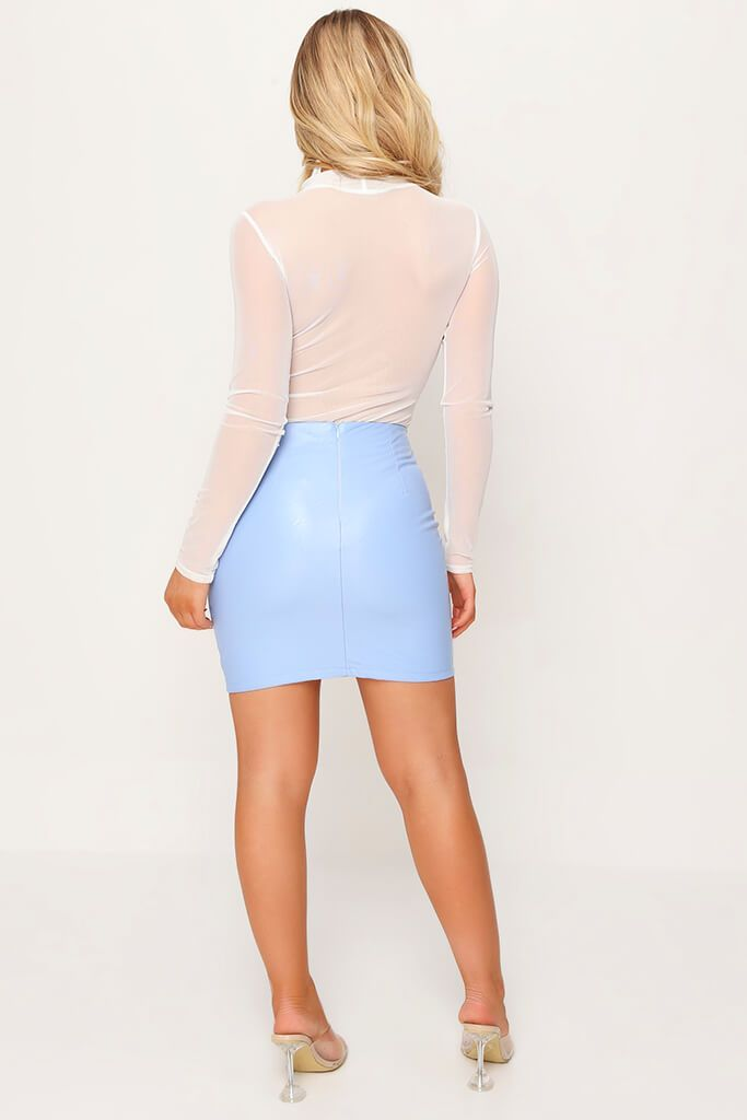 Pastel Blue Faux Leather Bodycon Mini Skirt view 5