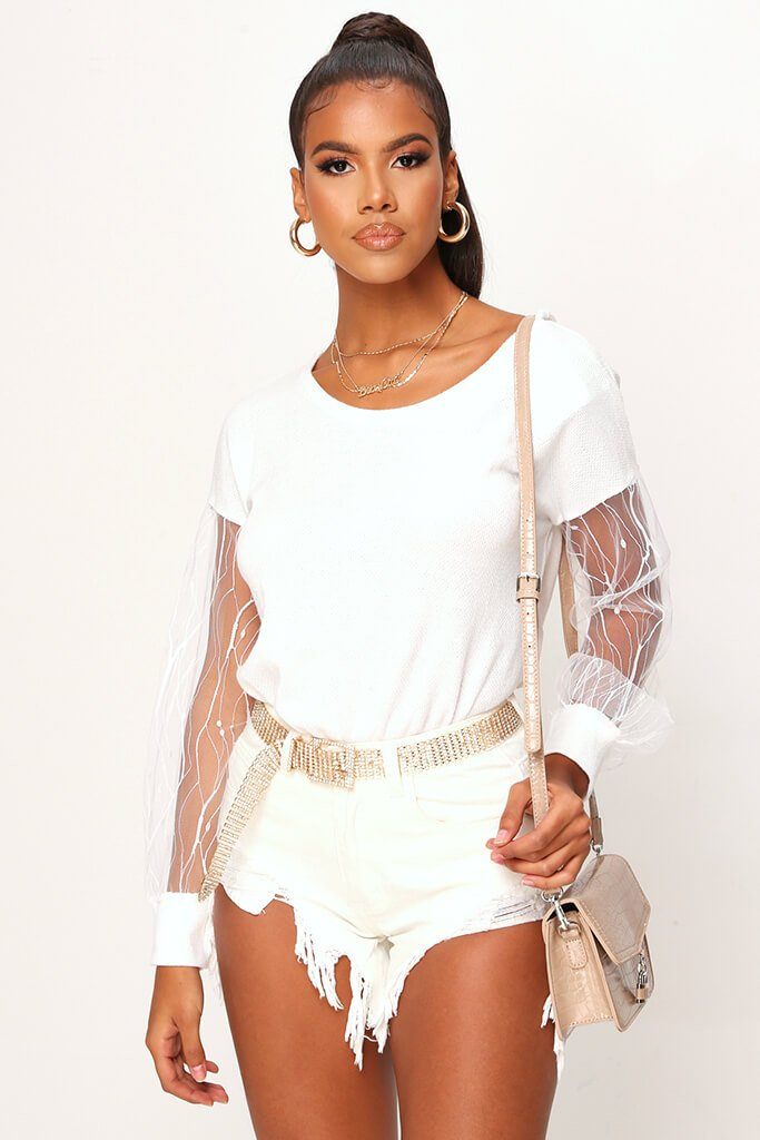 Cream Mesh Sleeve Knitted Jumper view main view