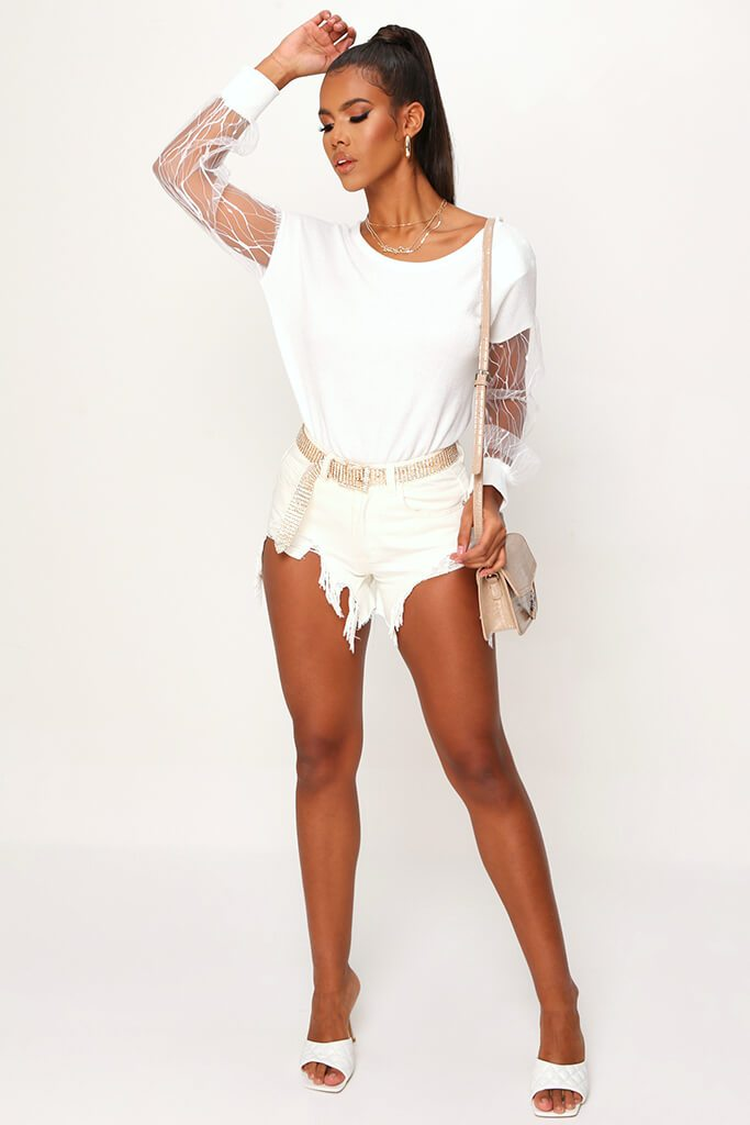 Cream Mesh Sleeve Knitted Jumper view 4