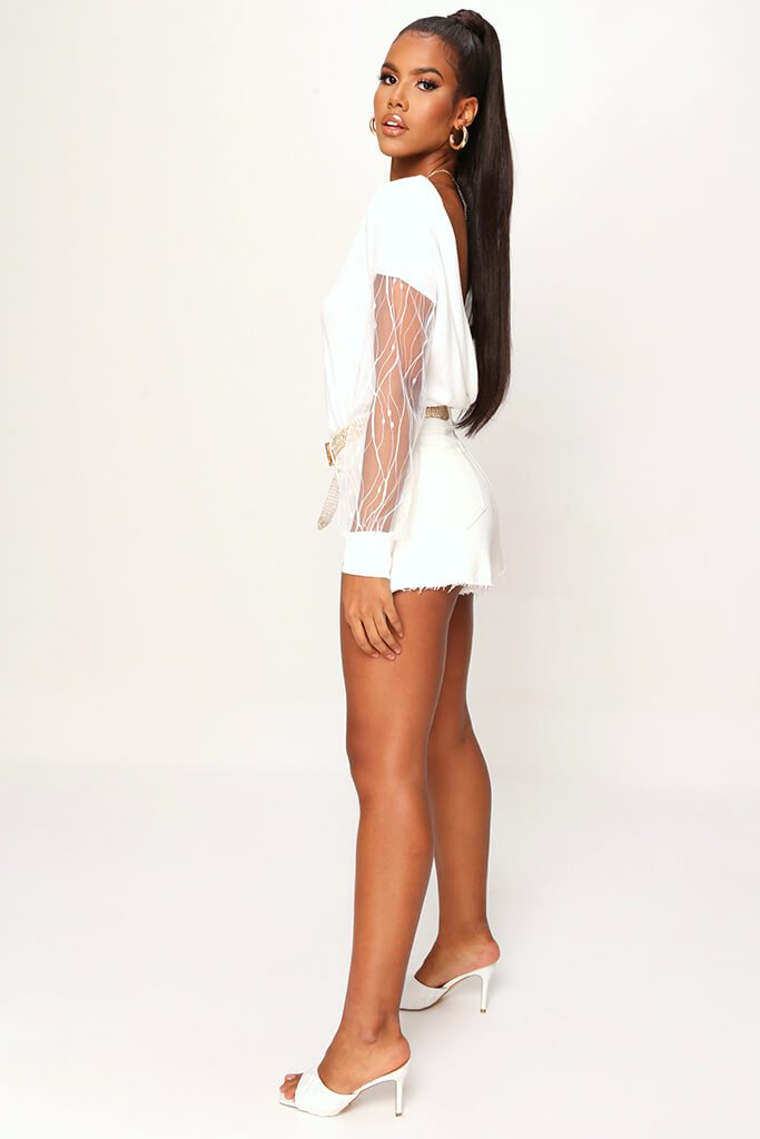 Cream Mesh Sleeve Knitted Jumper view 3