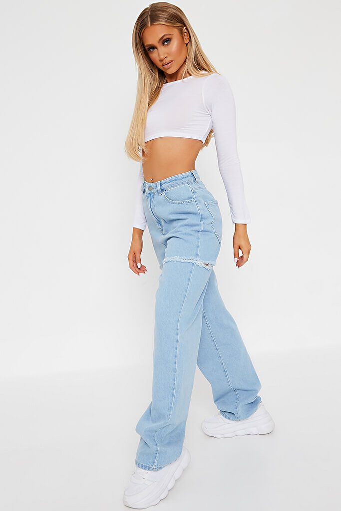 White Basic Long Sleeve Crop Top view 3