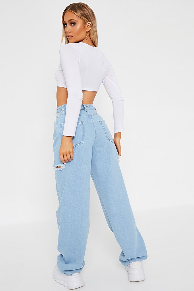 White Basic Long Sleeve Crop Top view 5