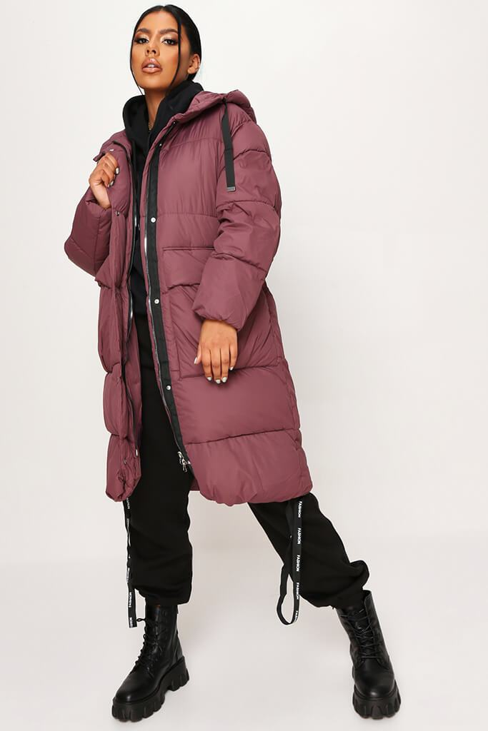 Plum Long Fashion Puffer Jacket