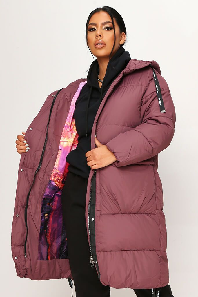Plum Long Fashion Puffer Jacket view 2