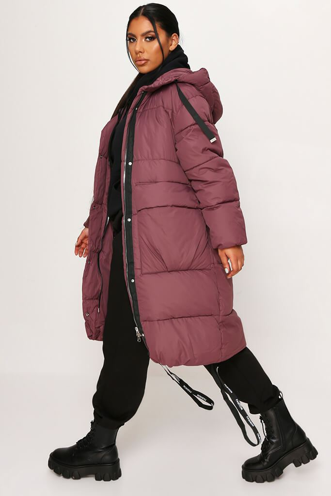 Plum Long Fashion Puffer Jacket view 3