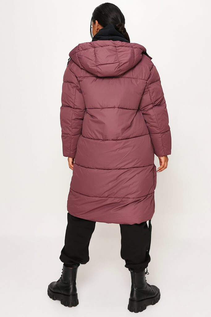 Plum Long Fashion Puffer Jacket view 5
