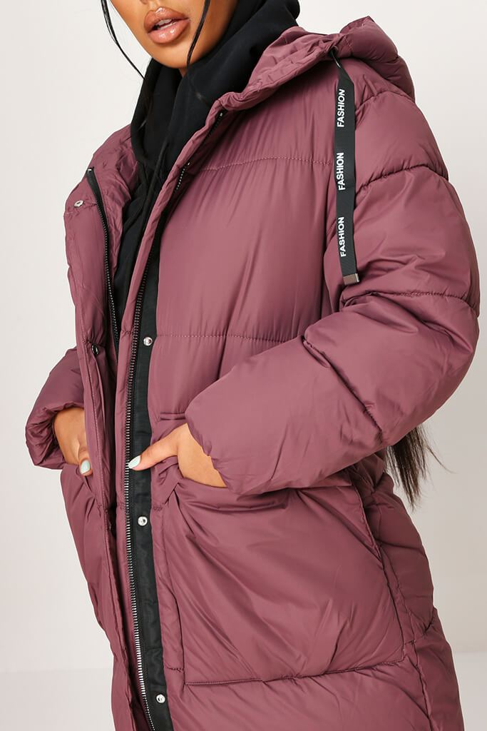 Plum Long Fashion Puffer Jacket view 4