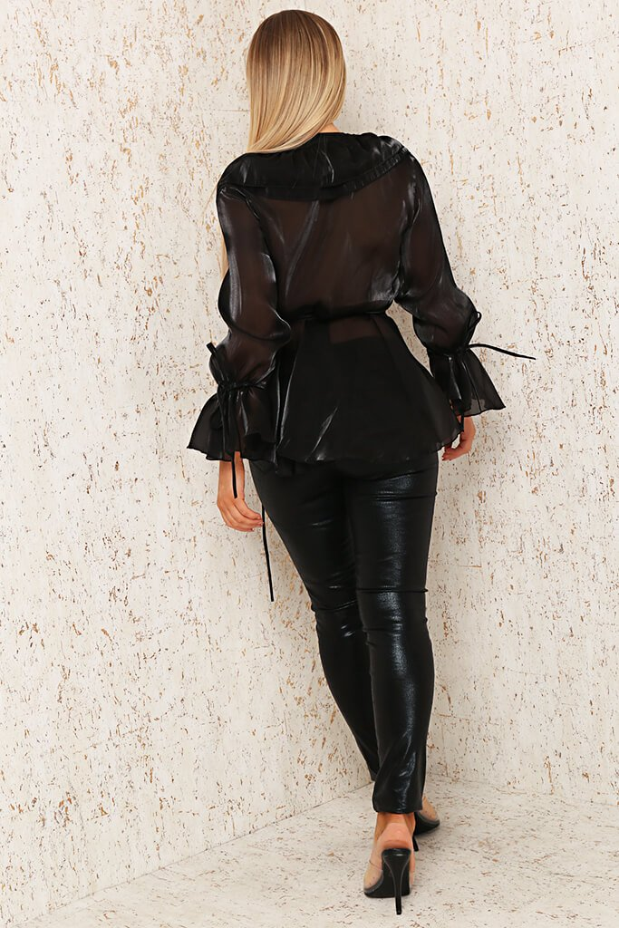 Black Premium Organza Frill Wrap Blouse view 5