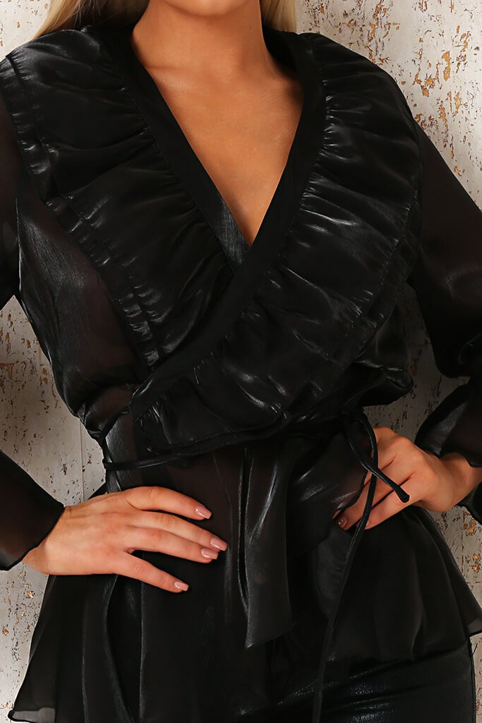 Black Premium Organza Frill Wrap Blouse view 4