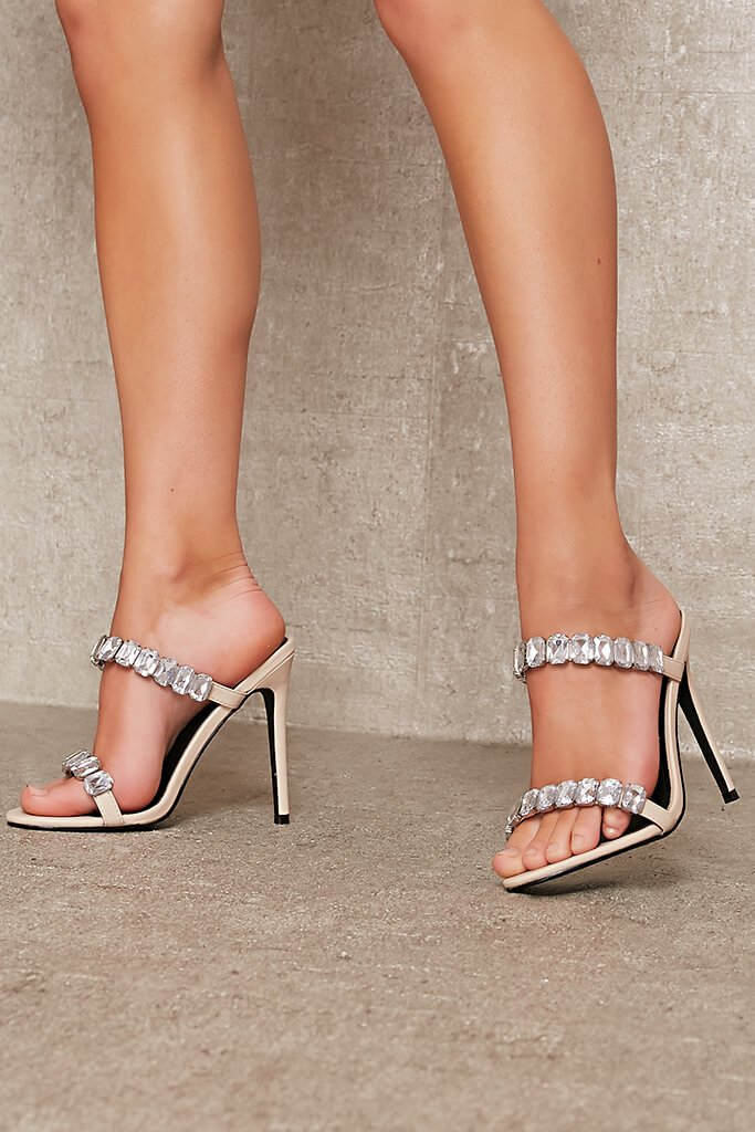 Nude Chunky Diamante Strap Mule view 2