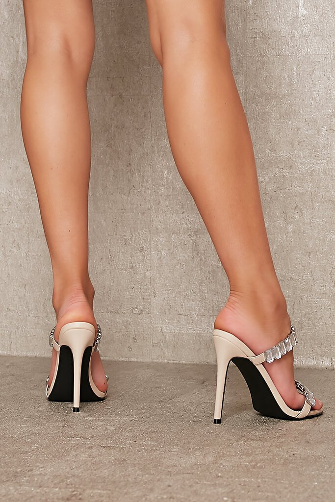 Nude Chunky Diamante Strap Mule view 3