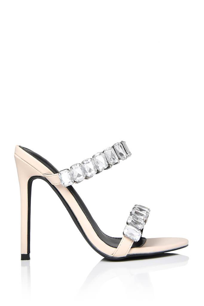 Nude Chunky Diamante Strap Mule view 4