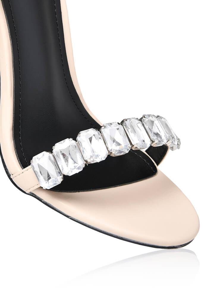 Nude Chunky Diamante Strap Mule view 5