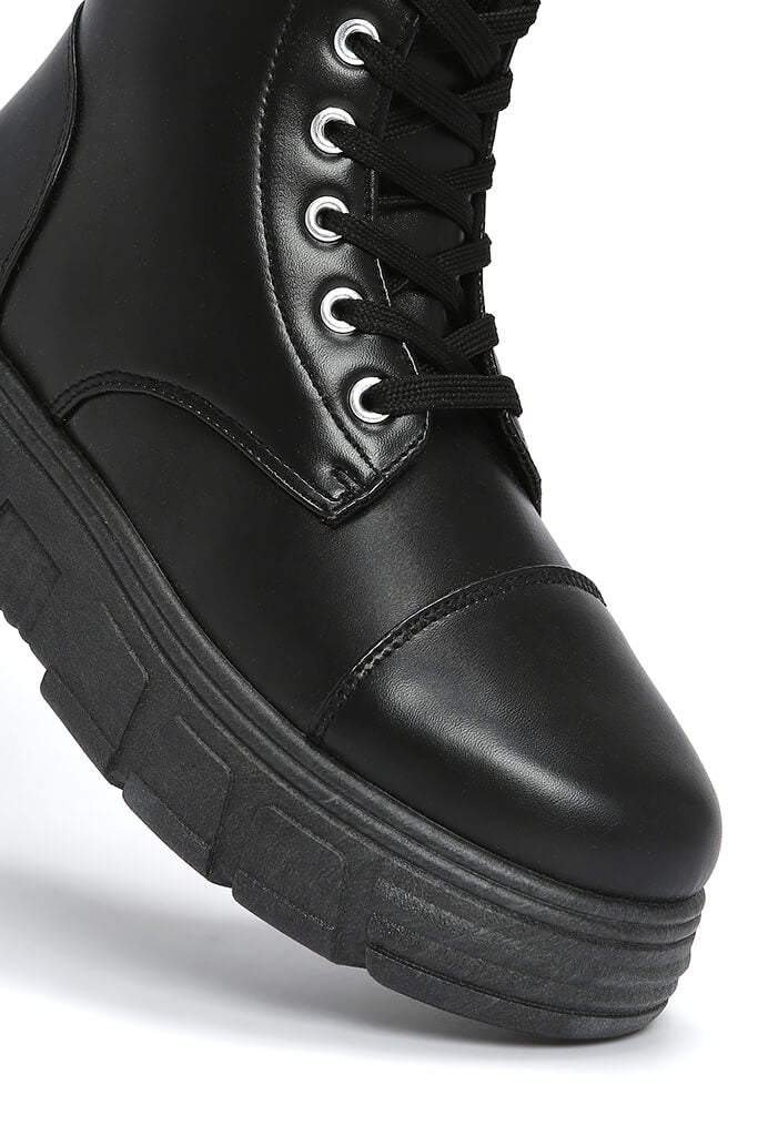 Black Chunky Lace Up Boot view 4