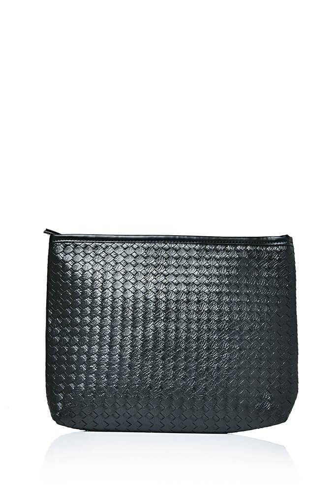 Black Weave Clutch Bag view main view