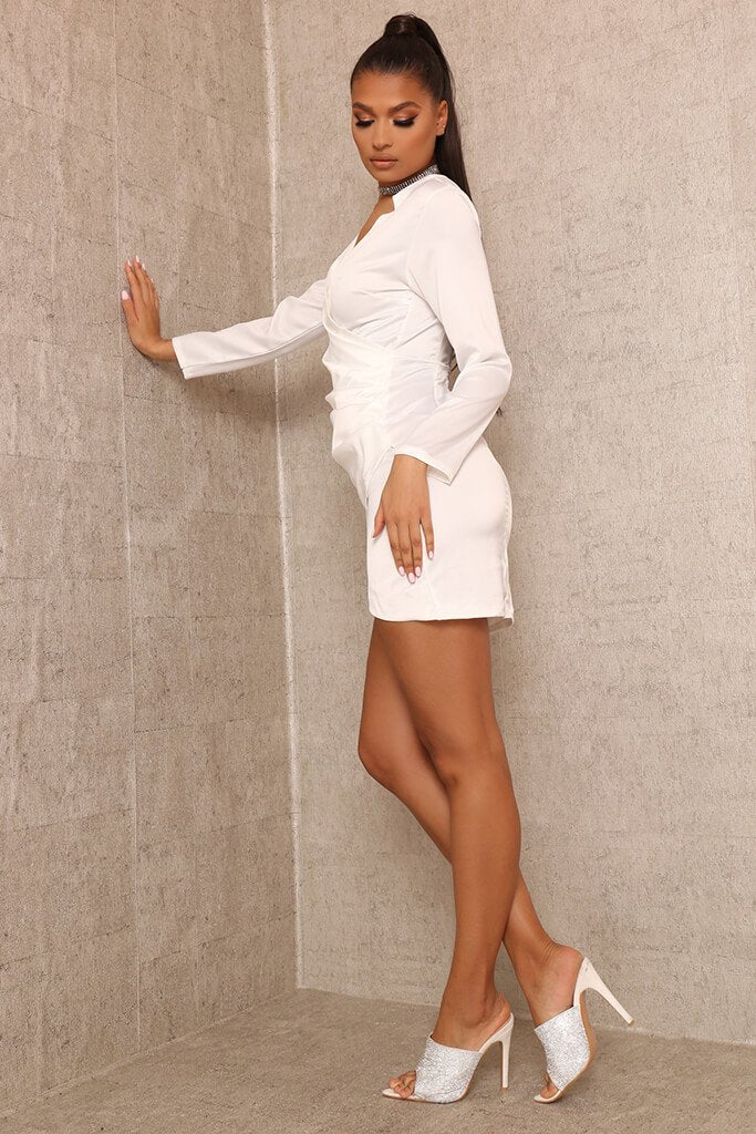 White Wrap Front Bodycon Mini Dress view 3