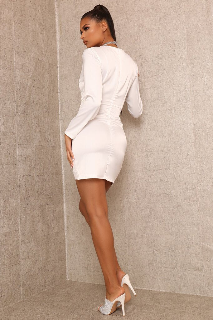 White Wrap Front Bodycon Mini Dress view 5