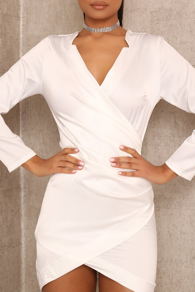 White Wrap Front Bodycon Mini Dress view 4