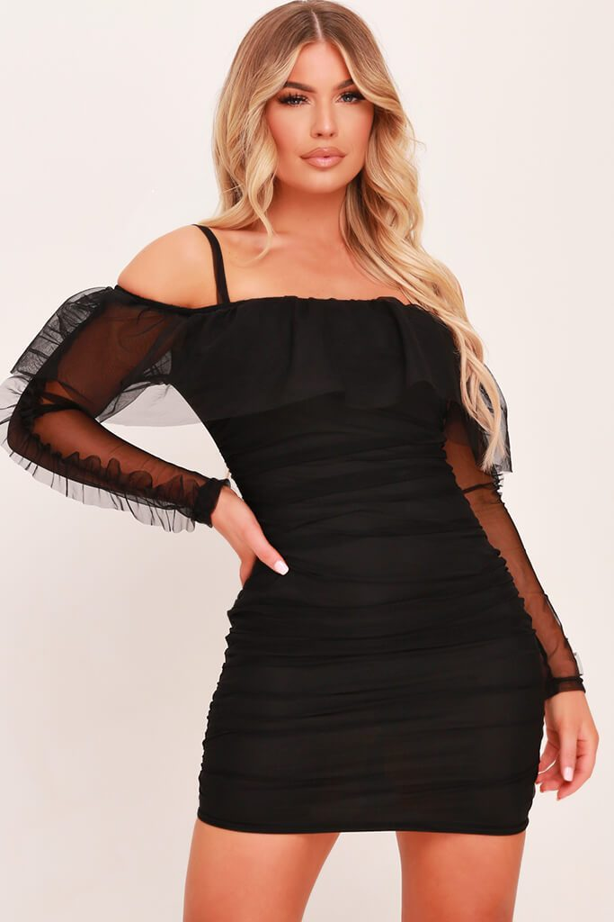 Black Organza Frill Bodycon Dress