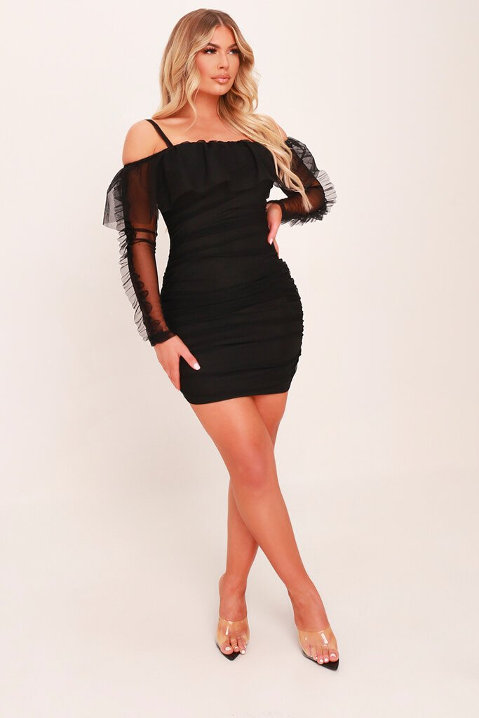 Black Organza Frill Bodycon Dress view 2