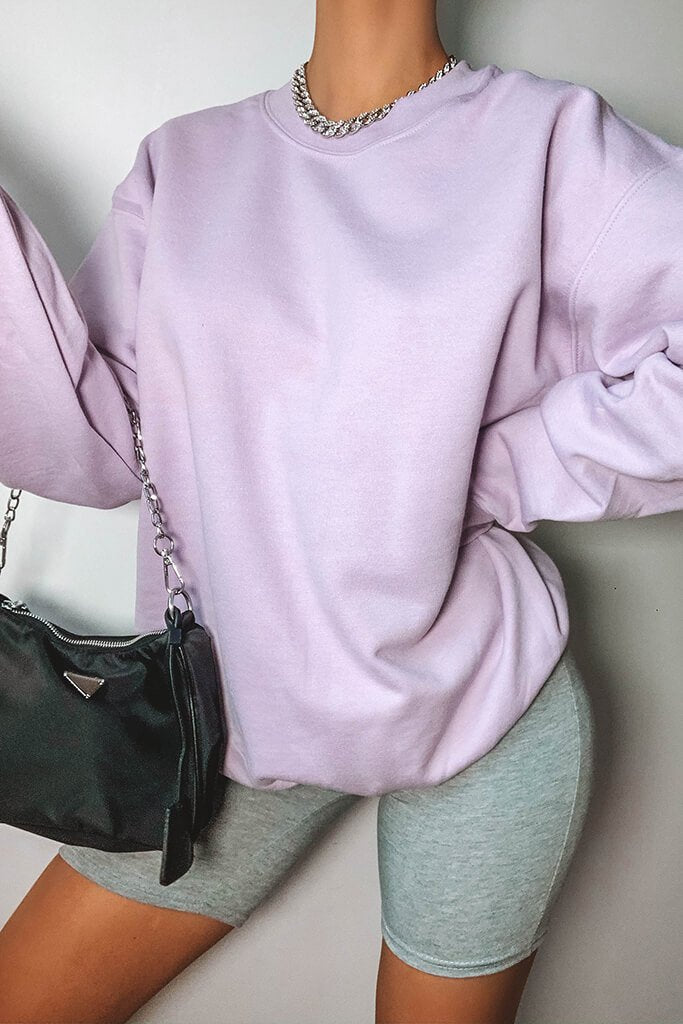 Lilac Oversized Crew Neck Sweatshirt view main view