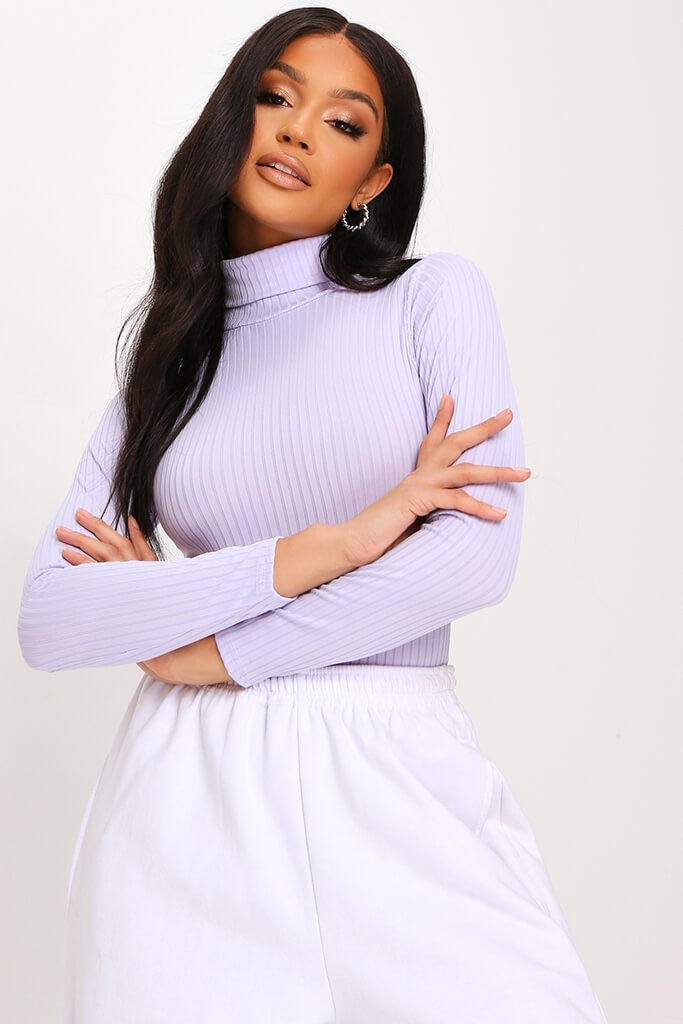 Lilac Roll Neck Long Sleeve Jumbo Ribbed Bodysuit view 2