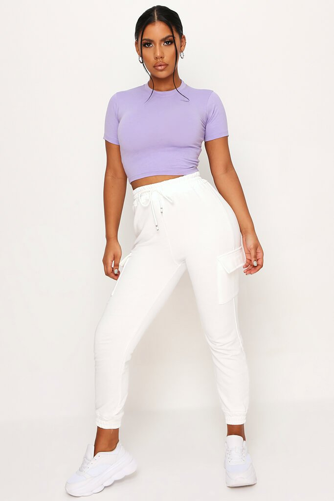 Lilac Fitted Cotton Crop T-Shirt view 2