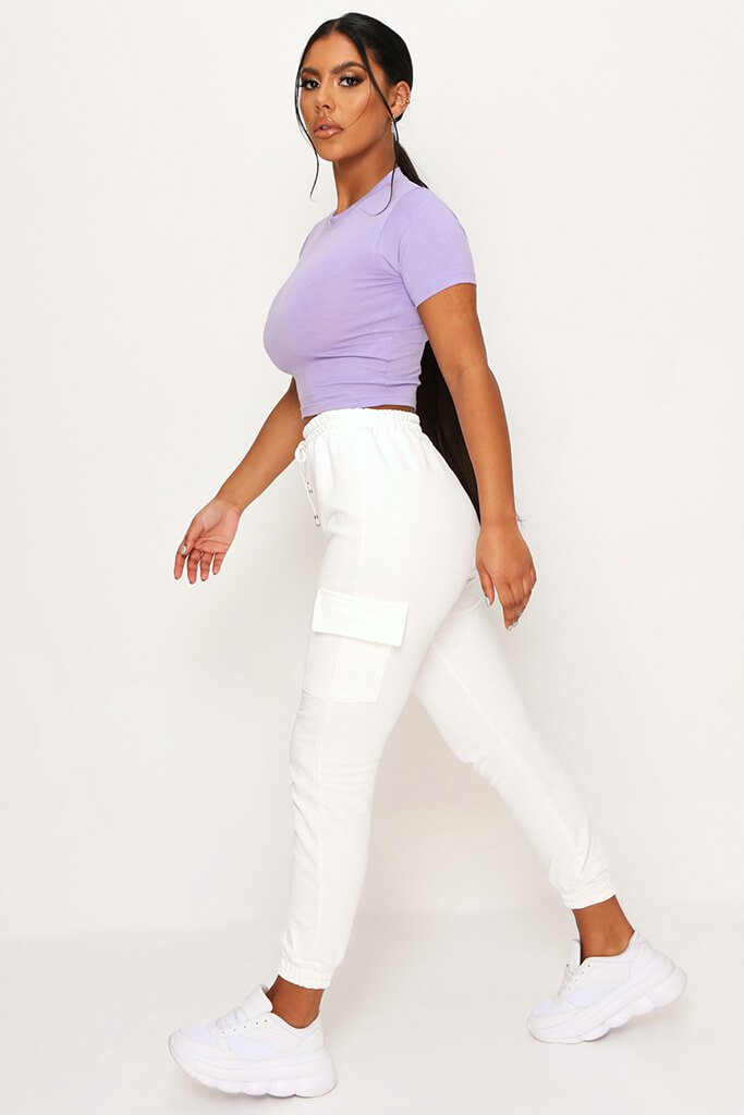 Lilac Fitted Cotton Crop T-Shirt view 3