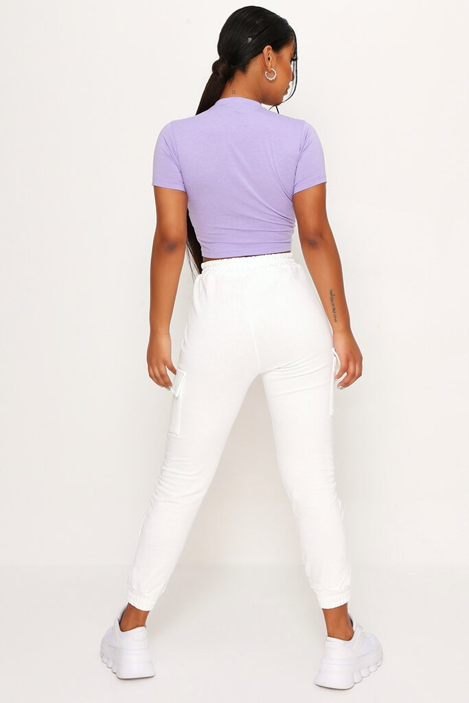 Lilac Fitted Cotton Crop T-Shirt view 5