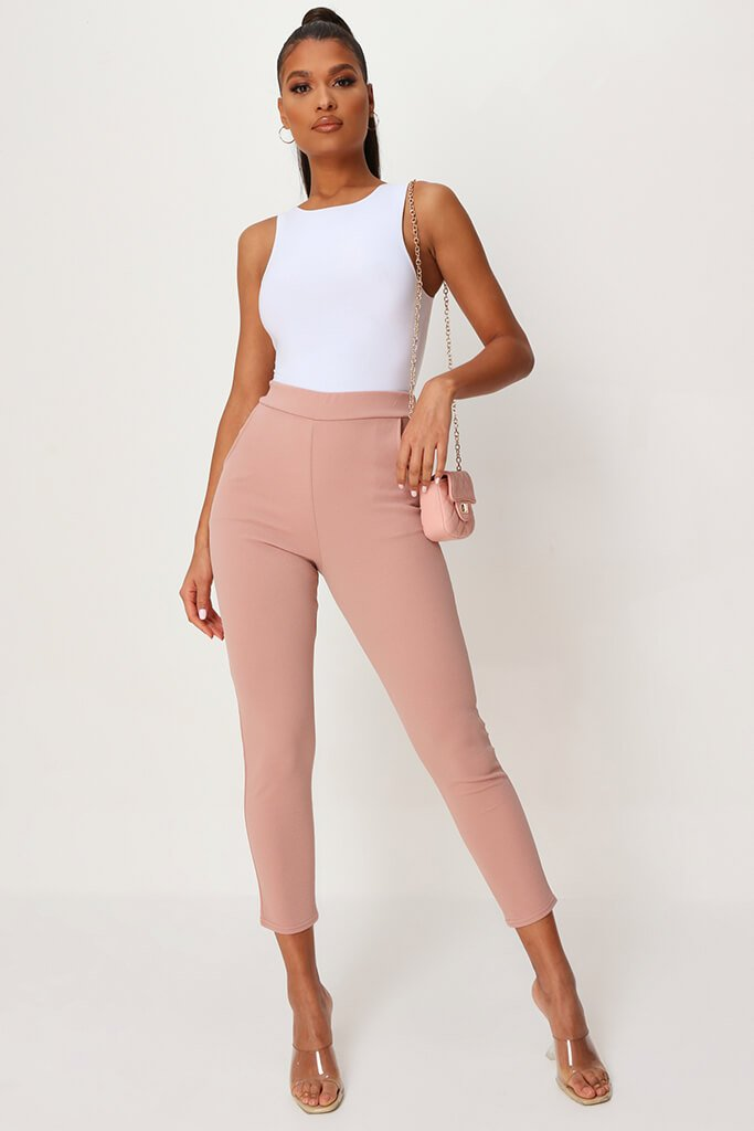 Blush Pink High Waist Skinny Trousers