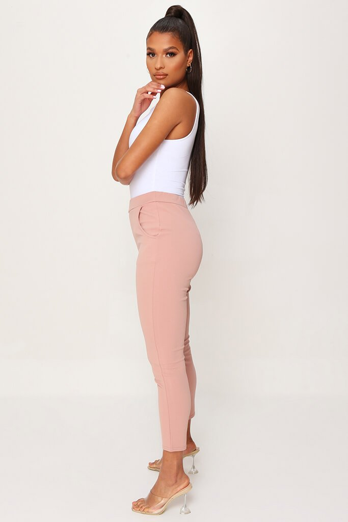 Blush Pink High Waist Skinny Trousers view 3