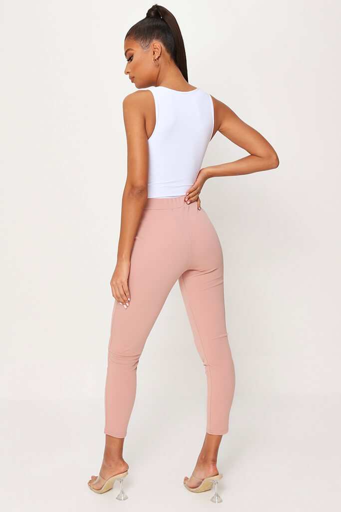 Blush Pink High Waist Skinny Trousers view 5