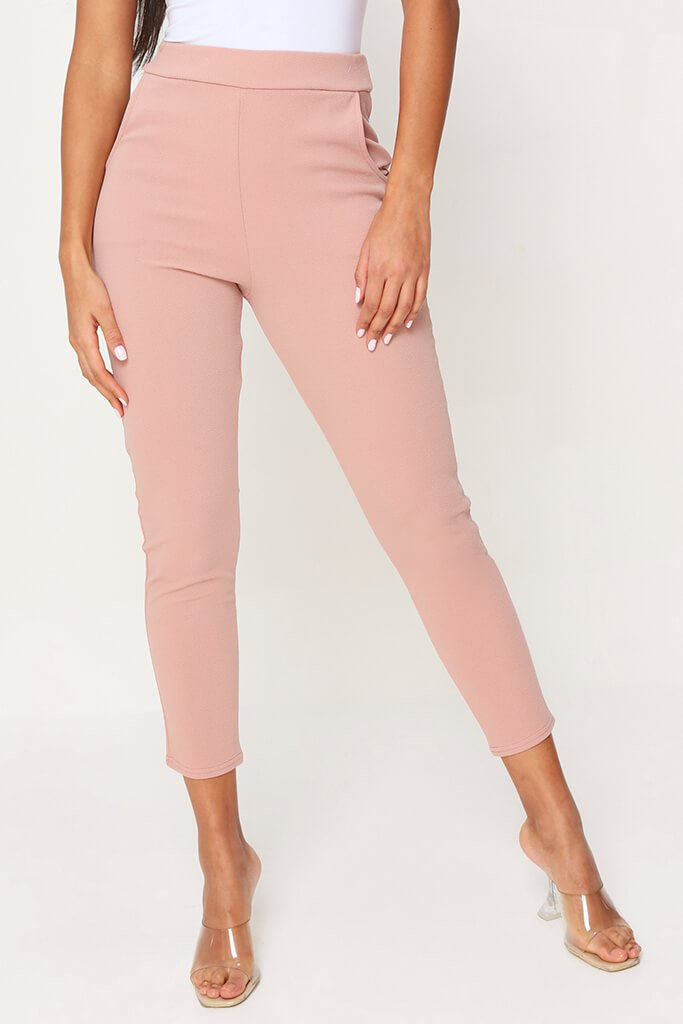Blush Pink High Waist Skinny Trousers view 2