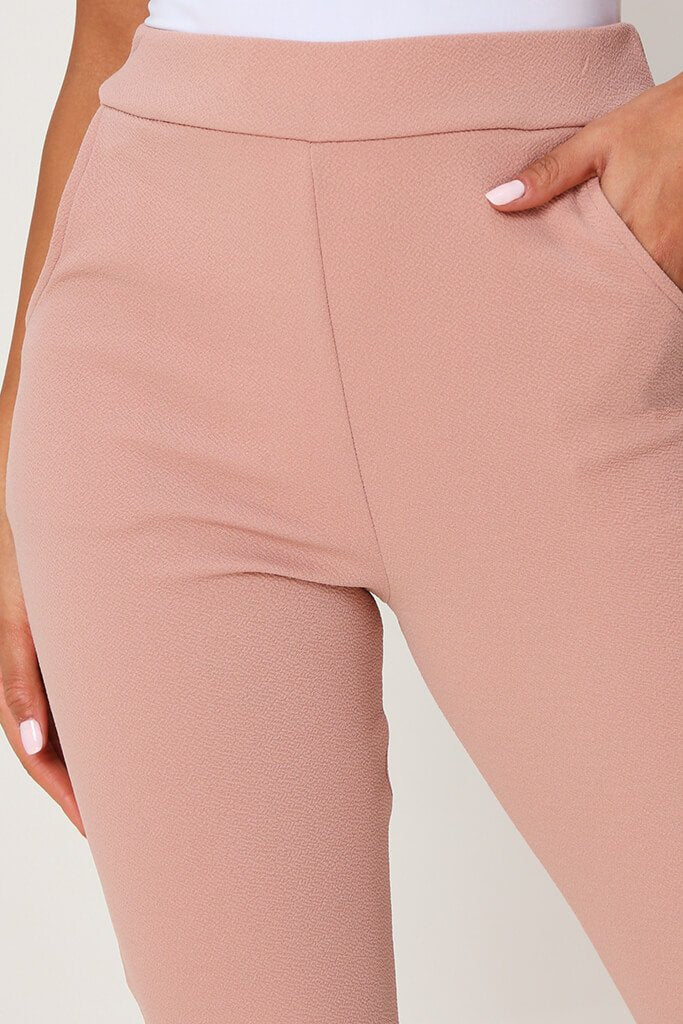 Blush Pink High Waist Skinny Trousers view 4