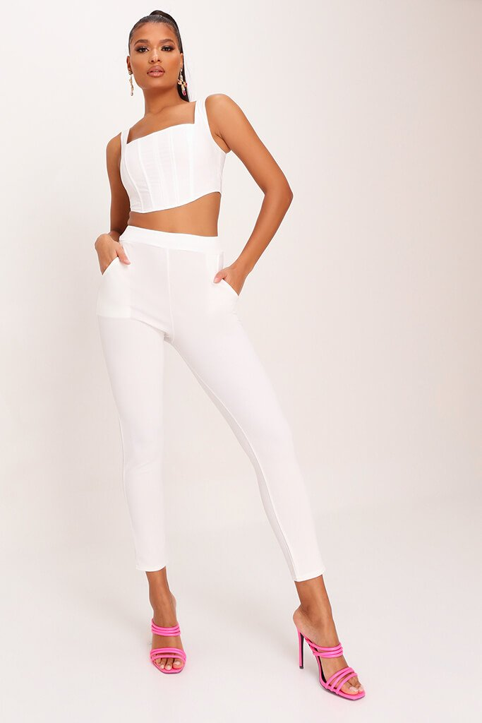 White High Waist Skinny Trousers view main view