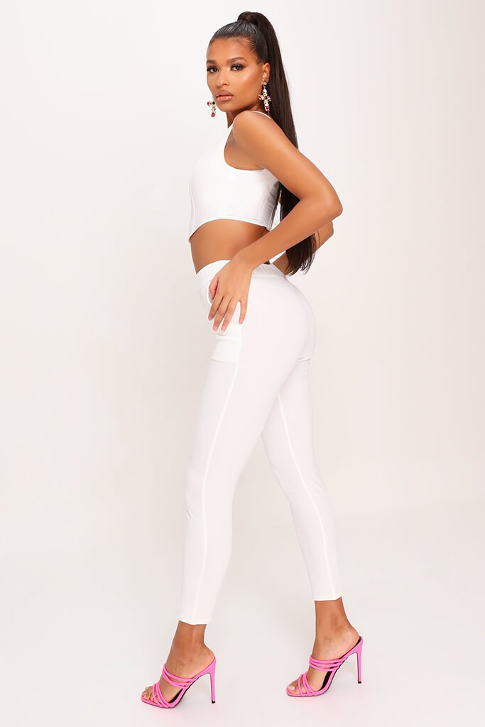 White High Waist Skinny Trousers view 3