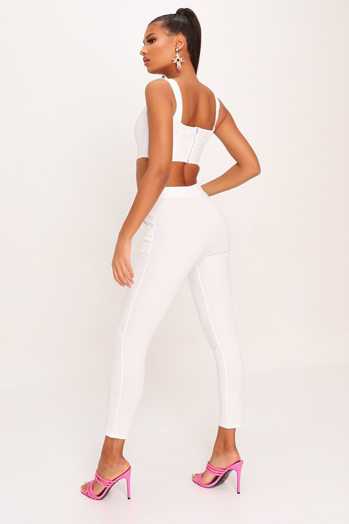 White High Waist Skinny Trousers view 5