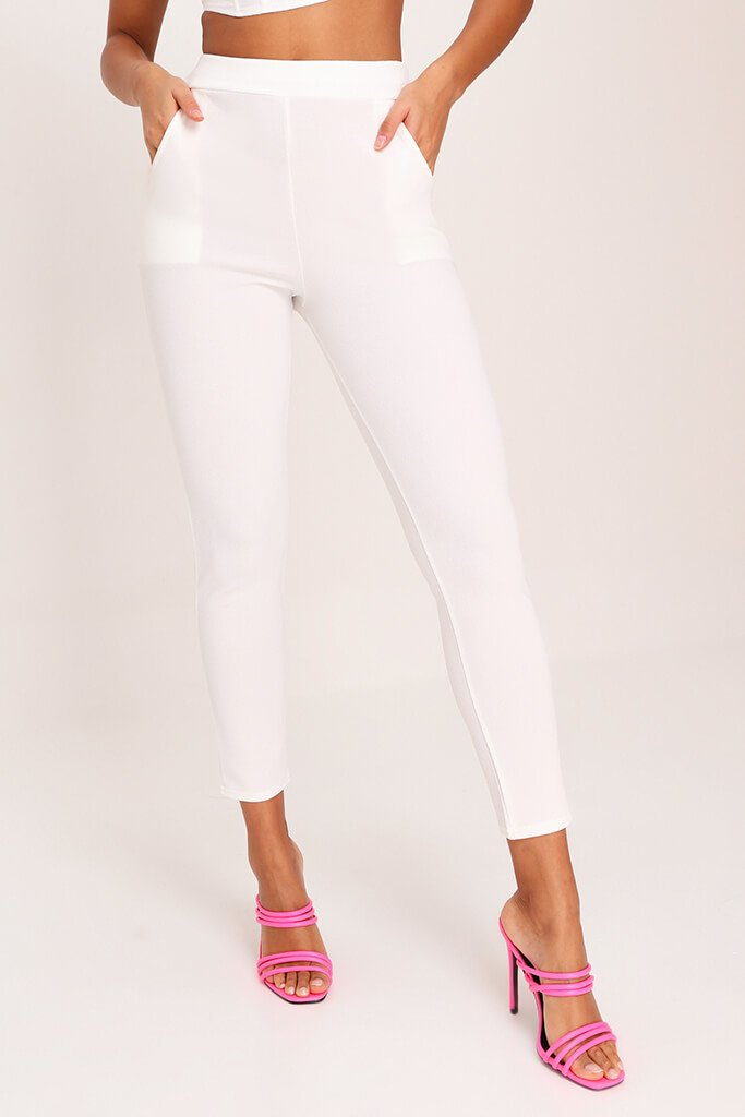 White High Waist Skinny Trousers view 2