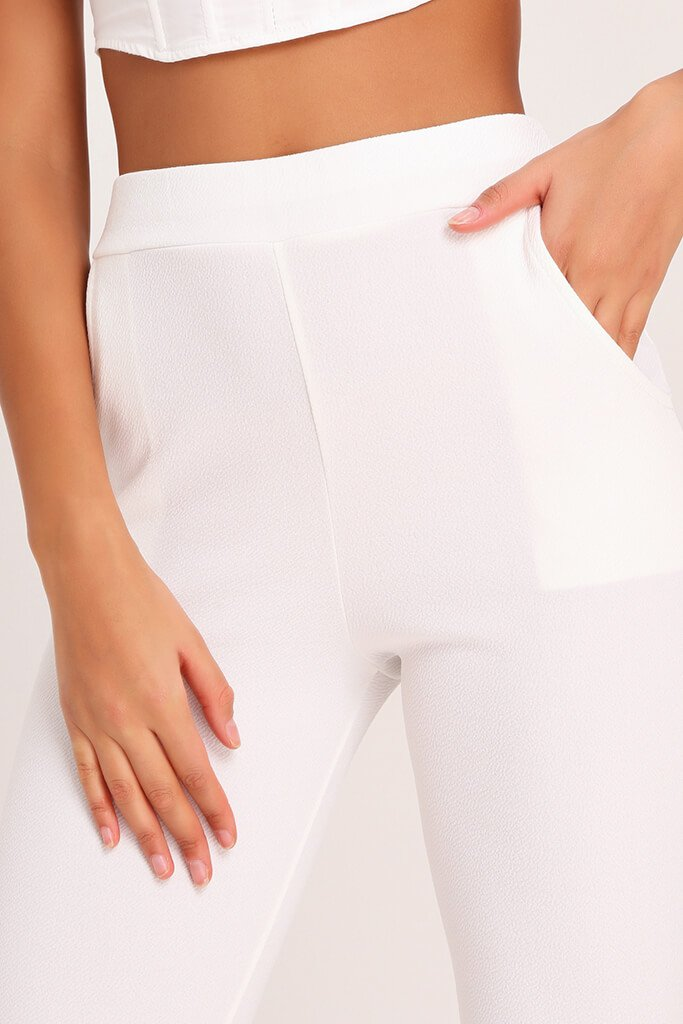 White High Waist Skinny Trousers view 4