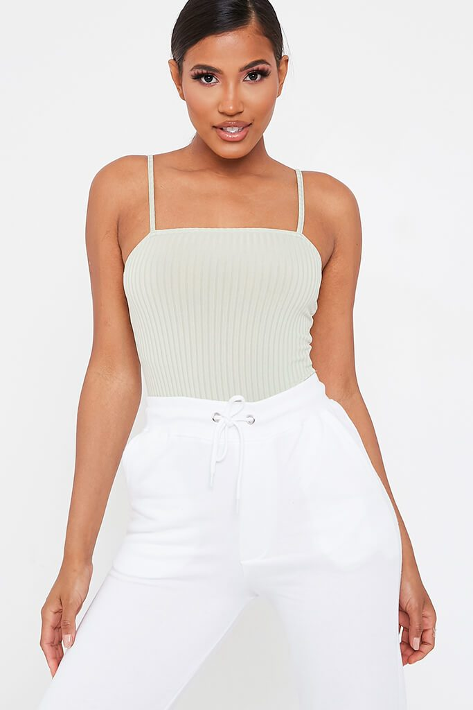 Mint Green Ribbed Strappy Bodysuit