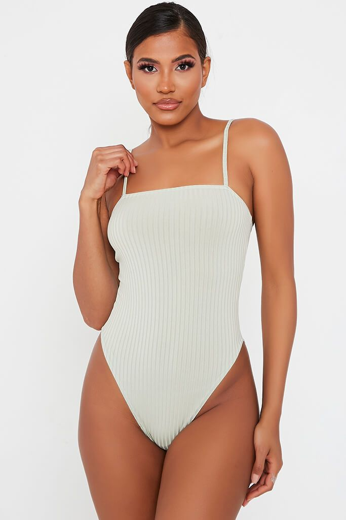 Mint Green Ribbed Strappy Bodysuit view 2