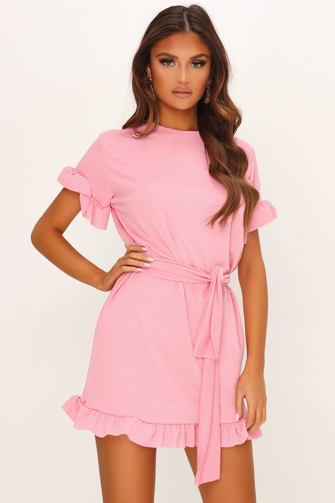 Blush Pink Tie Waist Frill Detail Dress