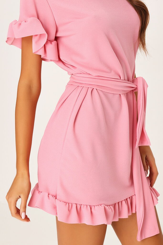 Blush Pink Tie Waist Frill Detail Dress view 4