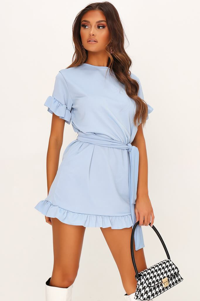 Baby Blue Tie Waist Frill Detail Dress view main view