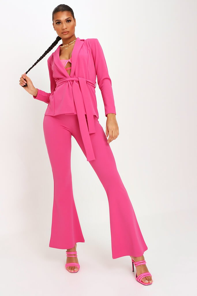 Pink Scuba Flare Trousers Co-Ord view 2